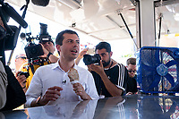 2020 Democratic Presidential Hopeful Peter Buttigieg tours the Iowa State Fair in Des Moines, Iowa on August 13, 2019. Credit: Alex Edelman / CNP /MediaPunch