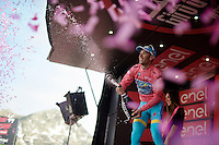Vincenzo Nibali (ITA/Astana) in pink on eh podium after stage 20: Guillestre (FR) - Sant'Anna di Vinadio (IT) 134km<br /> <br /> 99th Giro d'Italia 2016