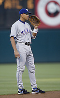 Alex Rodriguez of the Texas Rangers during a 2002 MLB season game against the Los Angeles Angels at Angel Stadium, in Los Angeles, California. (Larry Goren/Four Seam Images)