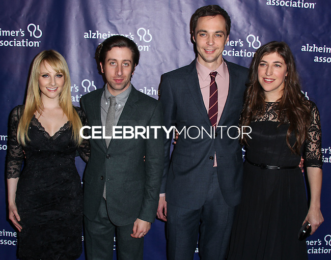 """BEVERLY HILLS, CA, USA - MARCH 26: Melissa Rauch, Simon Helberg, Jim Parsons, Mayim Bialik at the 22nd """"A Night At Sardi's"""" To Benefit The Alzheimer's Association held at the Beverly Hilton Hotel on March 26, 2014 in Beverly Hills, California, United States. (Photo by Xavier Collin/Celebrity Monitor)"""