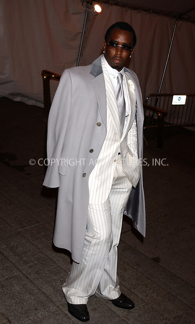WWW.ACEPIXS.COM . . . . . ....NEW YORK, MAY 2, 2005....Sean 'P. Diddy' Combs exiting The Costume Institute Gala Celebrating Chanel at the Metropolitan Museum of Art.....Please byline: KRISTIN CALLAHAN - ACE PICTURES.. . . . . . ..Ace Pictures, Inc:  ..Craig Ashby (212) 243-8787..e-mail: picturedesk@acepixs.com..web: http://www.acepixs.com