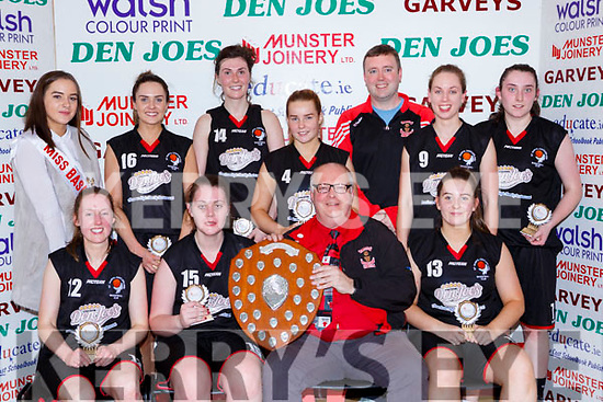 The St Marys team receive their trophy after winning the Senior Ladies final at the St Marys Basketball Blitz on Saturday  front row l-r: Eileen O'Connor, Aoife Nolan Gerard Murphy, Orla White. Back row: Miriam Leane, Lorraine Scanlon, Andrea Murphy Liam Culloty coach, Mary Herlihy and  Denise Dunlea