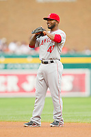 Los Angeles Angels second baseman Howie Kendrick (47) on defense against the Detroit Tigers at Comerica Park on June 25, 2013 in Detroit, Michigan.  The Angels defeated the Tigers 14-8.  (Brian Westerholt/Four Seam Images)