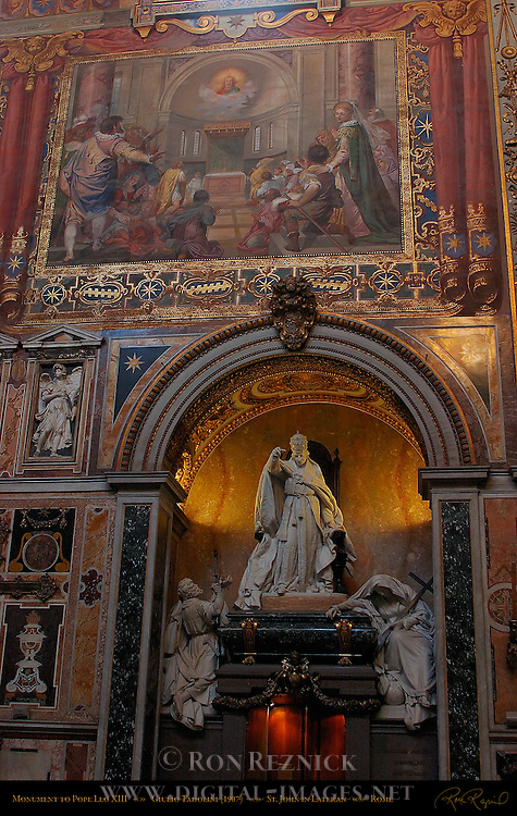 Monument to Pope Leo XIII Transept Giulio Tadolini 1907 Fresco Christ in the Apse Cavaliere d'Arpino et al 1600 Transept over Sacristy St John in Lateran Rome