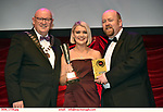 16-6-2019:  Hannah Wright-Roxie Hart-Chicago- Bravo Theatre Group, Loughrea, Galway  winner of the Best Female Singer award at the annual AIMS (Association of Irish Musical Societies) in the INEC Killarney at the weekend receiving the trophy from Seamus Power, President, AIMS left and Rob Donnelly, Vice-President.<br /> Photo: Don MacMonagle - macmonagle.com<br /> <br /> repro free photo from AIMS<br /> <br /> AIMS PRESS RELEASE: There was plenty of glitz and glamour in Killarney on Saturday night as The Association of Irish Musical Societies has its Annual Awards Ceremony in Killarney. Over 1,500 people could be heard over the Kerry mountains as the winners were announced by MC Fergal D'Arcy. Many societies were double winners on the night including UCD Musical Society, Dublin were dancing all the way to the trophies winning Best Choreography and Best Choreographer for Leah Meagher for Cabaret and  Tullamore Musical Society who took their moment as Chris Corroon won Best Male Singer for his sinful performance as Henry Jekyll in Jekyll &Hyde and also Director Paul Norton who'd plenty to celebrate picking Best Director for  the same show. The moment was once again taken by Jekyll&Hyde by Dùn Laoighaire Musical&Dramatic Society as Kevin Hartnett took up Best Male Singer in the Sullivan category.Nenagh Youth Musical Society raised their voices high and took home Best Ensemble. It was a superior night for Enniscorthy Musical Society by winning Best Comedienne for Jennifer Byrne as Mother Superior and Best Technical too. Portlaoise Musical Society rose to the top by taking home Best Overall Show in the Gilbert section for their stunning production of Titanic. Oyster Lane Theatre Group, Wexford flew their flag high taking home Best Overall Show in the Sullivan Section for their breathtaking production of Michael Collins-a Musical Drama.<br /> Other winners on the night included Best Comedian for Ronan Walsh as Officer Lockstock in Urinetown for Trim Musical Society, Best Actress in a Supporting Role fo