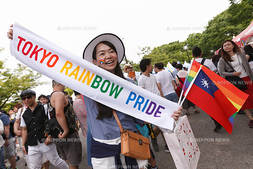 A supporter of the lesbian, gay, bisexual and transgender community (LGBT) poses for a photograph at Yoyogi Park during the Tokyo Rainbow Pride 2017 on May 7, 2017, Tokyo, Japan. Organizers claim that 6000 LGBT supporters wearing colorful costumes participated in the parade starting from Yoyogi Park. (Photo by Rodrigo Reyes Marin/AFLO)