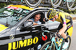Steven Kruijswijk (NED) Team Jumbo-Visma at the team car during Stage 3 of La Vuelta 2019 running 188km from Ibi. Ciudad del Juguete to Alicante, Spain. 26th August 2019.<br /> Picture: Luis Angel Gomez/Photogomezsport | Cyclefile<br /> <br /> All photos usage must carry mandatory copyright credit (© Cyclefile | Luis Angel Gomez/Photogomezsport)
