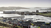Shetland - Scalloway - once dominated by Scalloway Castle the town now has a massive oil industry accommodation barge to add to the harbour outlook - picture by Donald MacLeod - 09.03.14 – 07702 319 738 – clanmacleod@btinternet.com – www.donald-macleod.com