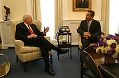 Washington, DC - October 30, 2003 -- United States Vice President Dick Cheney meets with California Governor-elect Arnold Schwarzenegger in the Vice President's West Wing office October 30, 2003. This is the first meeting between Vice President Cheney and Mr. Schwarzenegger since the state's historical recall election October 7, 2003..Mandatory Credit: David Bohrer - White House via CNP.