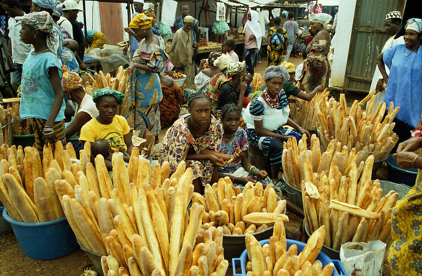 Women selling bread at local market