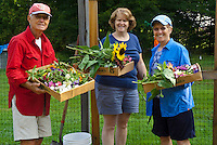 Team picking flowers for Yarmouth Community Garden and Meals on Wheels customers, Yarmouth Maine