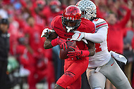 College Park, MD - NOV 12, 2016: Maryland Terrapins wide receiver Levern Jacobs (8) hauls in a big catch over Ohio State Buckeyes safety Malik Hooker (24) during game between Maryland and Ohio State at Capital One Field at Maryland Stadium in College Park, MD. (Photo by Phil Peters/Media Images International)