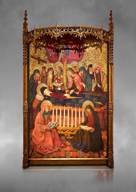"""Gothic painted panel of the Nativity scene by Taddeo Gabbi of Florence, circa 1325, tempera and gold leaf on wood. National Museum of Catalan Art, Barcelona, Spain, inv no: MNAC 212807. <br /> Taddeo Gabbi, one of Giotto's most brilliant disciples, painted this Nativity when he was still part of Giotto's workshop. The painting has many of Giotto's hallmarks such as  spatial illusionism or the reality of figures that can be seen in the nativity of the Peruzzi Chapel.<br /> <br /> SPANISH<br /> <br /> Taddeo Gabbi, uno de los discipulos mas brillantes de Giotto, debio pintar esta Natividad cuando aun formaba parte del taller del maestro. En ella se ven las conquistas de la """"revolucion giottesca"""", como el illusioismo espacial o el realismo de las figuras. Maria arropa a Jesus dentro del establo, mientras los sobrevuela un grupo de angeles. La posicion de uno de ellos y la presencia de una oveja indican que la composicion se completaba a la izquierda con el Anuncio a los pastores. En primer termino aparecen un pensativo Jose y las dos parteras que susurran, un recurso ya utilizado pr Giotto en los frescos de la Capilla Peruzzi."""