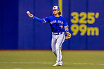 26 March 2018: Toronto Blue Jays infielder Bo Bichette in action during a pre-season exhibition game against the St. Louis Cardinals at Olympic Stadium in Montreal, Quebec, Canada. The Cardinals defeated the Blue Jays 5-3 in the first of two MLB Grapefruit League games. Mandatory Credit: Ed Wolfstein Photo *** RAW (NEF) Image File Available ***