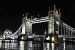 Night view of Tower Bridge in London, England.