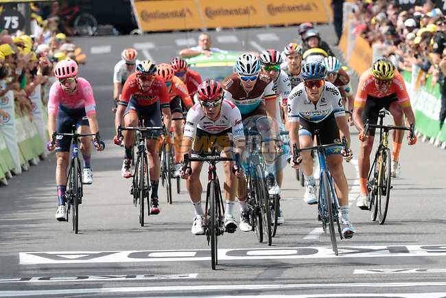 The chasing pack cross the finish line at the end of Stage 12 of the 2019 Tour de France running 209.5km from Toulouse to Bagneres-de-Bigorre, France. 18th July 2019.<br /> Picture: ASO/Colin Flockton | Cyclefile<br /> All photos usage must carry mandatory copyright credit (© Cyclefile | Colin Flockton)