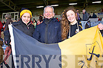 Fiadhna Tagney, Tom Lyne and Siobhán Byrnes, Dr Crokes fans, pictured at the All Ireland semi-final on Saturday last in Portlaoise.