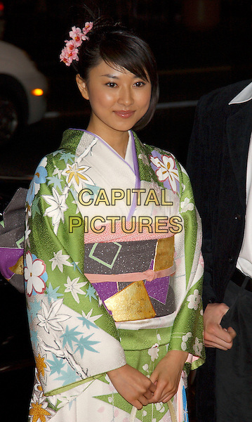 "REI KIKUKAWA .World Premiere of ""Godzilla Final Wars"" held at Grauman's Chinese Theatre, Hollywood, California,.29 November 2004..half length green floral patterned printed kimono style dress oriental.**UK SALES ONLY**.Ref: ADM.www.capitalpictures.com.sales@capitalpictures.com.©L.Farr/AdMedia/Capital Pictures ."