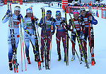 Ladies Podium with Sweden, Russia and Norway. Team sprint of the FIS Cross Country Ski World Cup  in Dobbiaco, Toblach, on January 15, 2017. For ladies Russia wins ahead of Sweden and Norway. For men's Canada wins ahead of Sweden and Italy's with Dietmar Noeckler and Federico Pellegrino. Credit: Pierre Teyssot