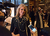 Trump campaign manager Kellyanne Conway speaks to members of the press in the lobby of Trump Tower in New York, NY, USA December 15, 2016.<br /> Credit: Albin Lohr-Jones / Pool via CNP