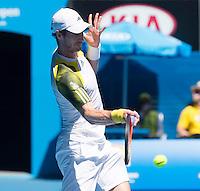 Andy Murray..Tennis - Australian Open - Grand Slam -  Melbourne Park  2013 -  Melbourne - Australia - Tuesday 15th January  2013. .© AMN Images, 30, Cleveland Street, London, W1T 4JD.Tel - +44 20 7907 6387.mfrey@advantagemedianet.com.www.amnimages.photoshelter.com.www.advantagemedianet.com.www.tennishead.net