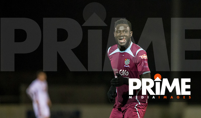 Kelvin Bossman of Chesham United celebrates scores an extra time goal to make it 4-3 during the Berks & Bucks Senior Cup Semi-Final match between Chesham United and MK Dons at the Meadow , Chesham, England on 13 January 2016. Photo by Andy Rowland / PRiME Media Images.