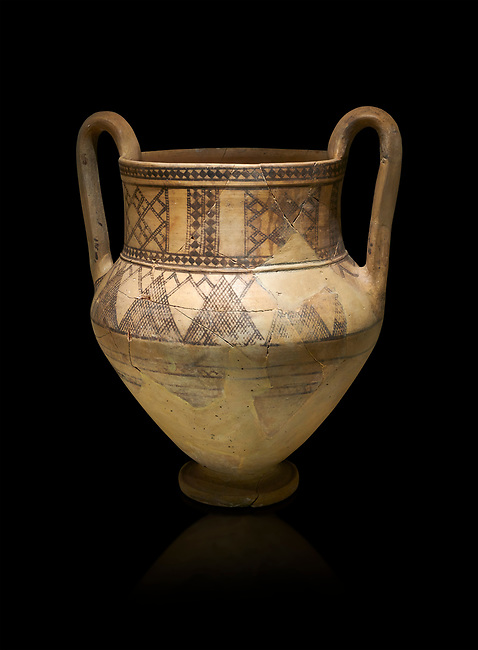 Phrygian terra cotta amphora decorated with geometric designs from Gordion. Phrygian Collection, 8th century BC - Museum of Anatolian Civilisations Ankara Turkey. Against a black background