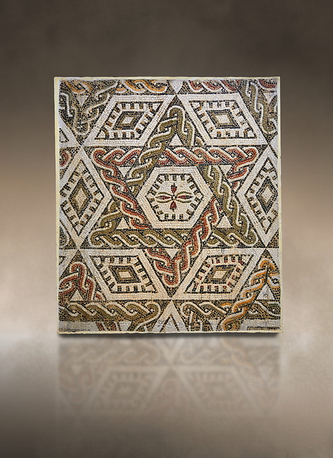 Pictures of a geometric Roman mosaics with a hexagon at its centre in the middle of which is a cruciform of flowers, from the ancient Roman city of Thysdrus, house in the M'Barek R'Haiem area. Begining of 3rd century AD. El Djem Archaeological Museum, El Djem, Tunisia. Against an art background