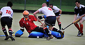 Hockey - Subway Eat Fresh Mens National League Div 1 - Western Wildcats V Menzieshill at Auchenhowie, Milngavie - Menzieshill goalkeeper Andrew Ross defends the ball from Western's Dan Prior, as Wildcats press home an attack in their 6-1 victory - Picture by Donald MacLeod 05.09.09