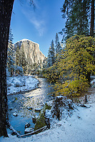 Autumn Snow along the Merced River below El Capitan in Yosemite Valley