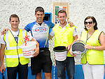 Eoin McCartney pictured with Eanna McCarthy, Dermot Mooney and Annette Tully of Ardee Hospice Homecare at pairc Mhuire in Ardee after cycling from Melbourne Austrailia. Photo: www.colinbellphotos.com