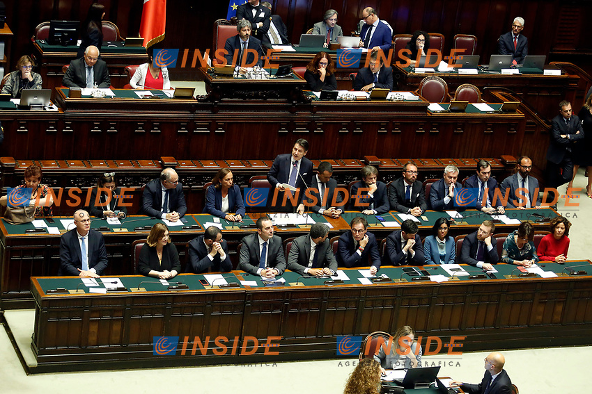 The Premier Giuseppe Cont during his speech surrounded by ministers. Teresa Bellanova, Paola De Micheli, Roberto Gualtieri, Luciana Lamorgese, Giuseppe Conte, Luigi Di Maio, Dario Franceschini, Alfonso Bonafede, Lorenzo Guerini, Vincenzo Amendola.<br /> Low line: Federico D'Incà, Nunzia Catalfo, Stefano Patuanelli, Vincenzo Spadafora, Riccardo Fraccaro, Vincenzo Boccia, Roberto Speranza, Fabiana Dadone, Lorenzo Provenzano, Elena Bonetti, Paola Pisano.<br /> Rome September 9th 2019. Lower Chamber. Programmatic speech of the new appointed Italian Premier at the Chamber of Deputies to explain the program of the yellow-red executive. After his speech the Chamber is called to the trust vote at the new Government. <br /> Foto  Samantha Zucchi Insidefoto