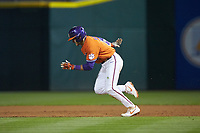 Bo Majkowski (16) of the Clemson Tigers takes off for second base during the game against the Charlotte 49ers at BB&T BallPark on March 26, 2019 in Charlotte, North Carolina. The Tigers defeated the 49ers 8-5. (Brian Westerholt/Four Seam Images)