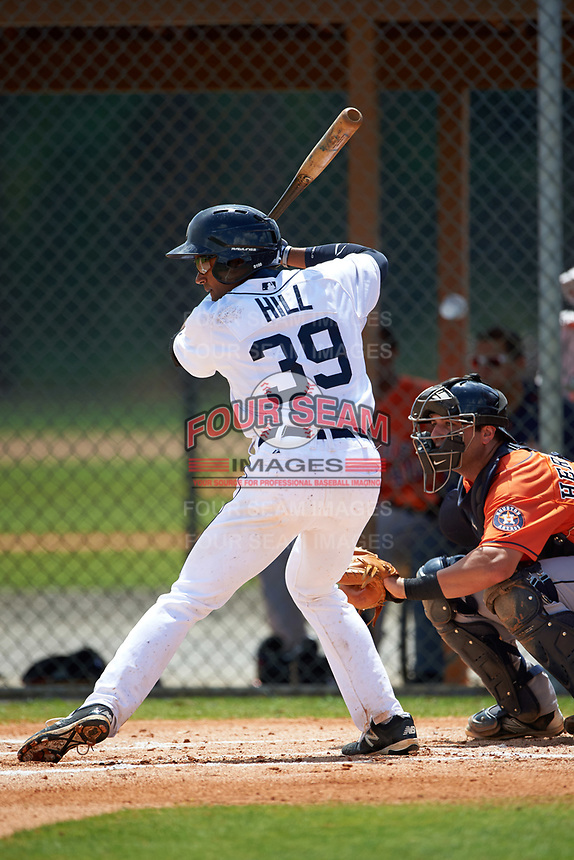 Detroit Tigers Derek Hill (39) during a minor league Spring Training game against the Houston Astros on March 30, 2016 at Tigertown in Lakeland, Florida.  (Mike Janes/Four Seam Images)