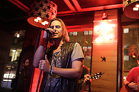Philippe Berghella and other local artists attend the First anniversary of the Jack Saloon<br />  in Old-Montrreal, October 7, 2015.<br /> <br /> PHOTO : Pierre Roussel - Agence Quebec Presse