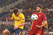 12th September 2017, Stadio Olimpic, Rome, Italy; UEFA Champions League between AS Roma versus Club Atletico de Madrid; Fazio (roma) challenge the header from Saul Niguez in the box ; the game ended on a 0-0 draw