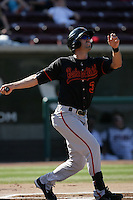 Jacob Kaase of the Bakersfield Blaze during game against the Lake Elsinore Storm at The Diamond in Lake Elsinore,California on July 25, 2010. Photo by Larry Goren/Four Seam Images