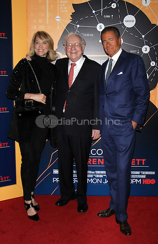 NEW YORK, NY January 19, 2017:Deborah Norville, Warren Buffett, Richard Plepler, attend the   HBO Documentart presents the World Premiere screening of Becoming Warren Buffett at Museum of Modern Art in New York .January 19, 2017. Credit:RW/MediaPunch