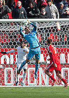 20 April 2013: Houston Dynamo goalkeeper Tally Hall #1 catches the ball during the second half in an MLS game between the Houston Dynamo and Toronto FC at BMO Field in Toronto, Ontario Canada..The game ended in a 1-1 draw...