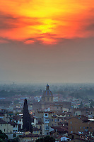 Sunset over Florence, Italy.