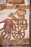 Worker with a column on a horse cart, a detail from an early seventh Century Christian Roman Byzantine commemoration mosaic from the baptistery of a rural church in Wadi Arremal, present day Zaghouan Region of Tunisia, The Bardo National Museum, Tunis, Tunisia.<br /> <br /> The mosaic shows workers construction the early christian church the mosaic commemorates. The mosaic can be regarded as being late Roman of early Byzantine Roman as the area came under the rule of Constantinople during this period