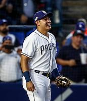 Fernando Valenzuela acompa&ntilde;ado de Christian Villanueva,  lanza la primera bola para el playball del partido de beisbol de los Dodgers de Los Angeles contra Padres de San Diego, durante el primer juego de la serie las Ligas Mayores del Beisbol en Monterrey, Mexico el 4 de Mayo 2018.<br /> (Photo: Luis Gutierrez)