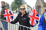 British fan at sign on in Dusseldorf before the start of Stage 2 of the 104th edition of the Tour de France 2017, running 203.5km from Dusseldorf, Germany to Liege, Belgium. 2nd July 2017.<br /> Picture: Eoin Clarke | Cyclefile<br /> <br /> <br /> All photos usage must carry mandatory copyright credit (&copy; Cyclefile | Eoin Clarke)