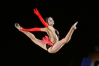 Anna Bessonova of Ukraine split leaps handsfree during gala at 2007 Portimao World Cup of Rhythmic Gymnastics on April 29, 2006.  (Photo by Tom Theobald)..