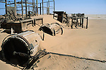 Remnants of mining activity in the  Namib Naukluft desert.  Access is restricted due to Diamond mining activity by DeBeers.