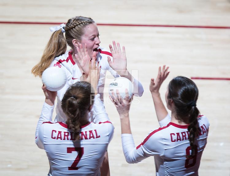 STANFORD, CA - October 12, 2018: Mackenzie Fidelak, Michaela Keefe, Meghan McClure at Maples Pavilion. No. 2 Stanford Cardinal swept No. 21 Washington State Cougars, 25-15, 30-28, 25-12.
