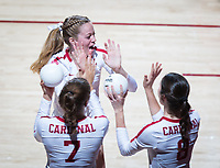 STANFORD, CA - October 12, 2018: Mackenzie Fidelak, Michaela Keefe, Meghan McClure at Maples Pavilion. No. 2 Stanford Cardinal swept No. 21 Washington State Cougars, 25-15, 30-28, 25-12.