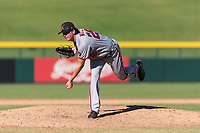 Salt River Rafters relief pitcher Jordan Mills (28), of the Washington Nationals organization, follows through on his delivery during an Arizona Fall League game against the Mesa Solar Sox at Sloan Park on October 30, 2018 in Mesa, Arizona. Salt River defeated Mesa 14-4 . (Zachary Lucy/Four Seam Images)