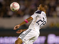 Sean Franklin of the LA Galaxy heads a ball over the middle. The Colorado Rapids defeated the LA Galaxy 3-1 at Home Depot Center stadium in Carson, California on Saturday October 16, 2010.
