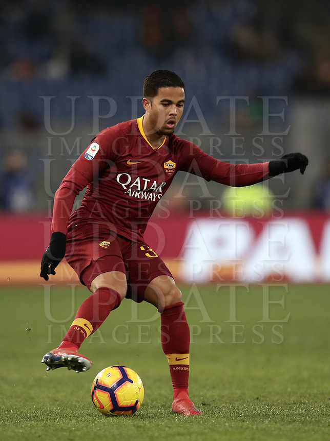 Football, Serie A: AS Roma - Bologna FC, Olympic stadium, Rome, February 18, 2019. <br /> Roma's Justin Kluivert in action during the Italian Serie A football match between AS Roma and Bologna FC at Olympic stadium in Rome, on February 18, 2019.<br /> UPDATE IMAGES PRESS/Isabella Bonotto